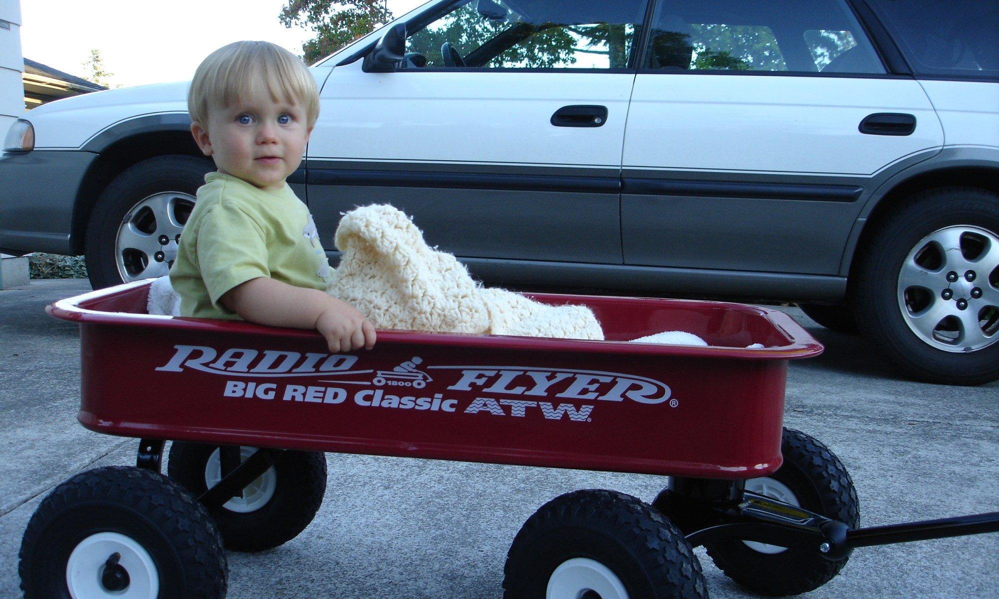 Ethan Holt and his Radio Flyer Wagon