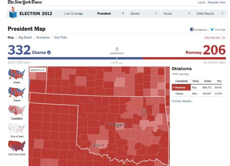 President Map - Election 2012 - NYTimes