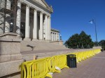"Barriers blocking the South steps into the Capitol Bldg. Supposedly for ""safety"", some see this as symbolic"