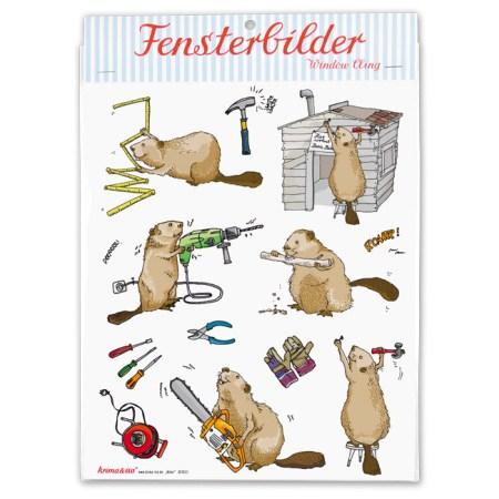 Bayreuth Buchhandlung Krima und Isa Fensterbilder Biber
