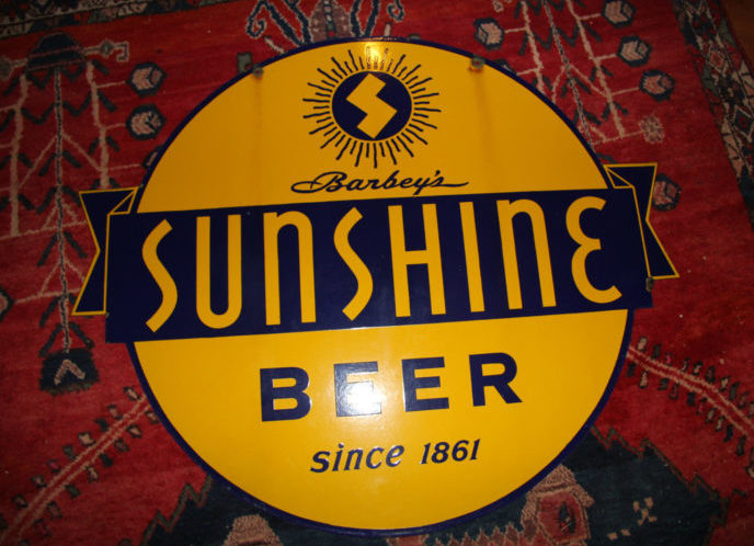 Barbey's Sunshine Beer Porcelain Sign