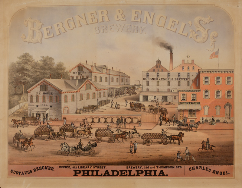 Bergner and Engel Brewery Factory Scene Litho