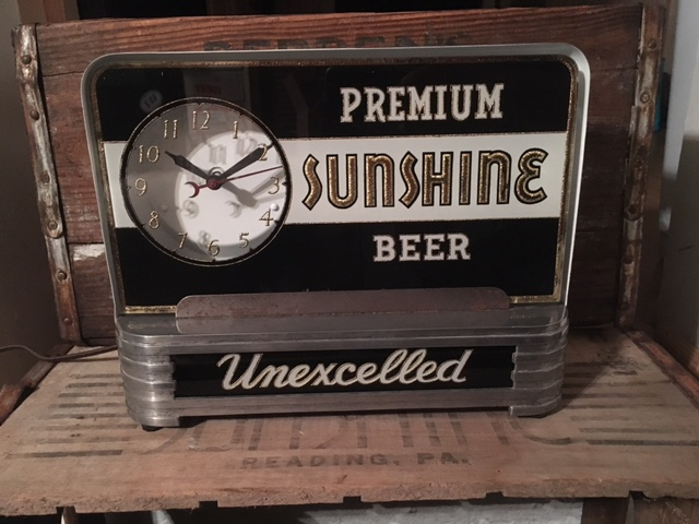 Premium Sunshine Beer Bar Back Clock Sign