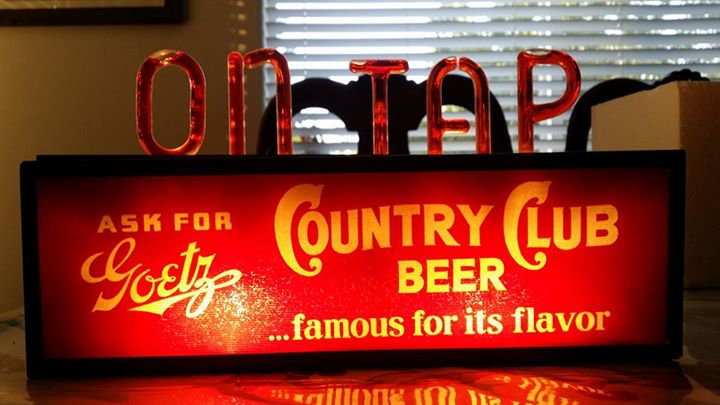 Ask for Goetz Country Club Beer Biolite Bubbler Sign
