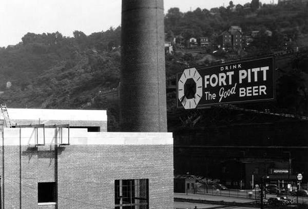 Fort Pitt Brewery & Clock Billboard Sign