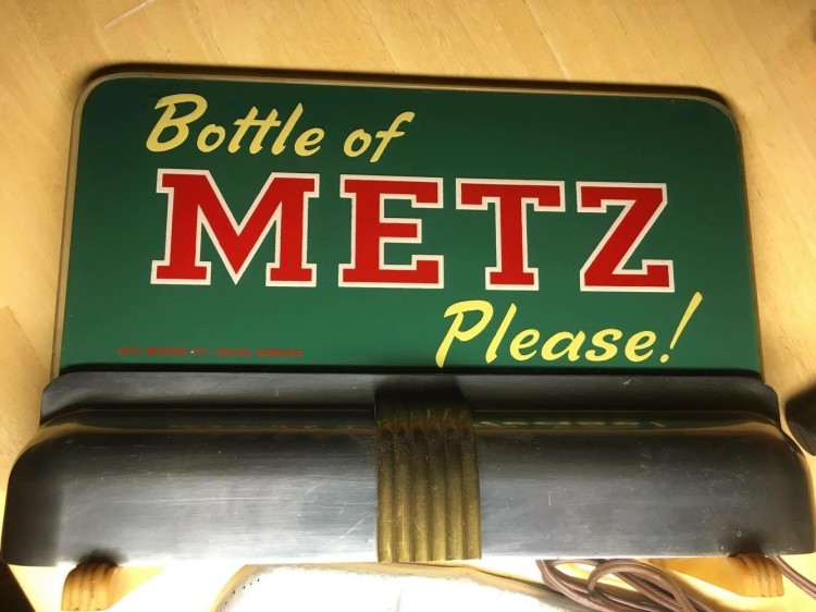 Bottle of Metz Please! Bar Back Sign