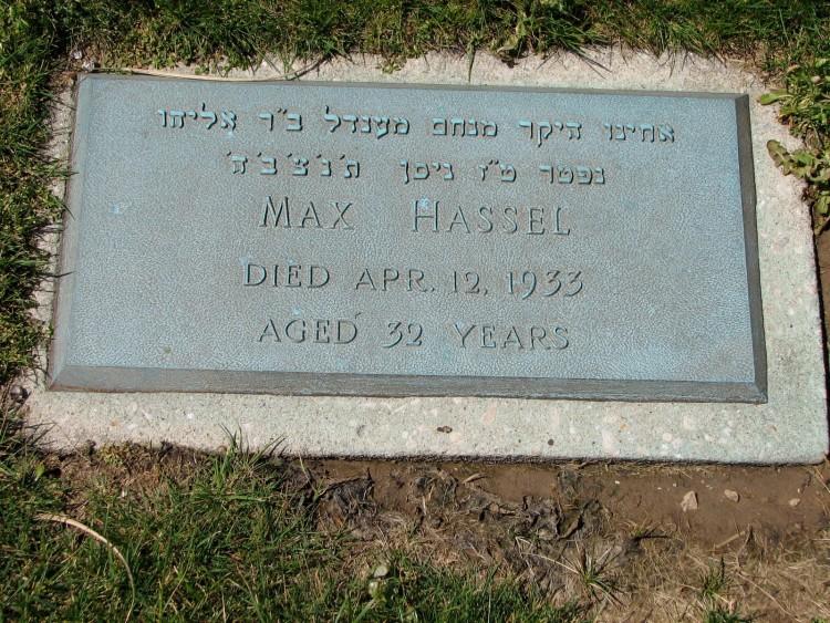 Max Hassel's Grave Stone