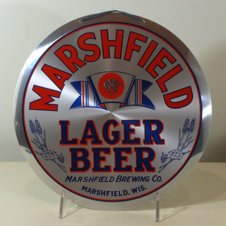 Marshfield Lager Beer Button Sign
