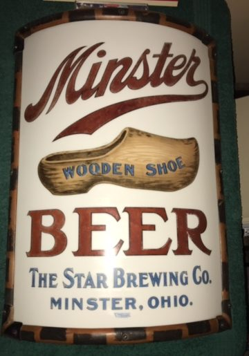 minster wooden shoe beer star brewing company vitrolite sign