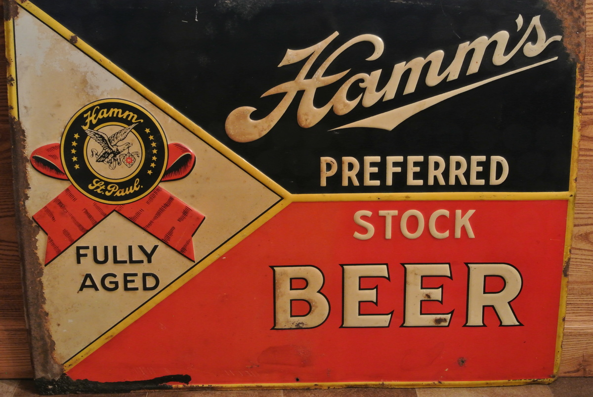 Hamm's Preferred Stock Beer Tin Sign