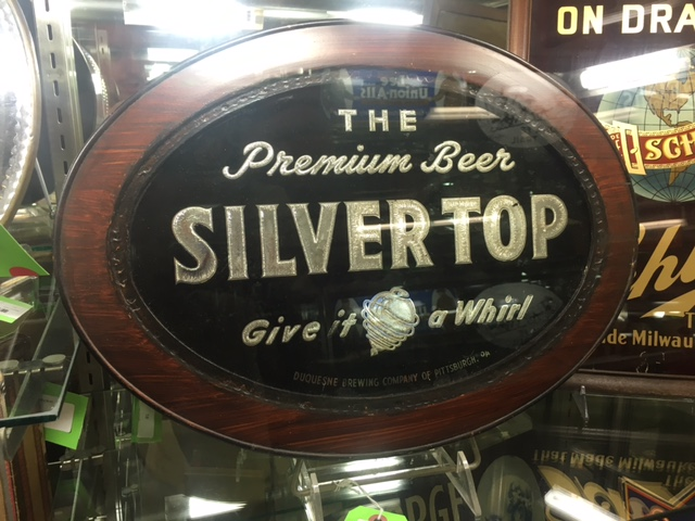 Silver Top Beer Brunhoff Glass Sign