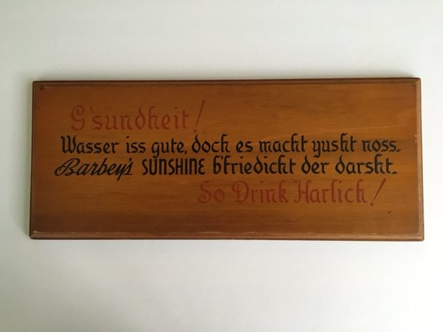 Barbey's Sunshine Beer PA Dutch Wooden Sign