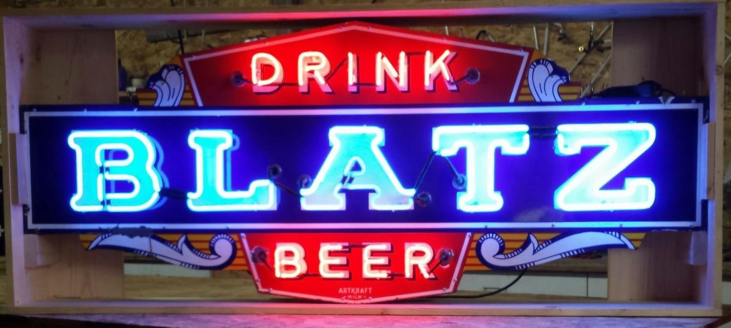 Blatz Beer Porcelain ArtKraft Sign