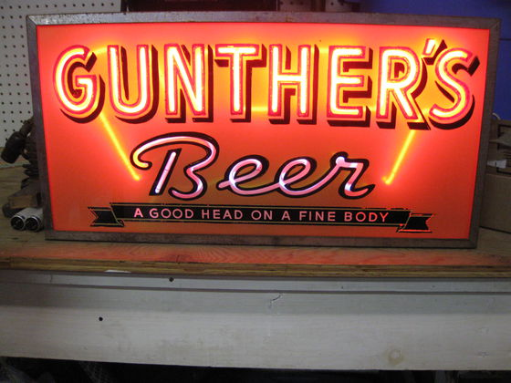 gunther beer good head on a fine body Lumin-Art Display Corp sign