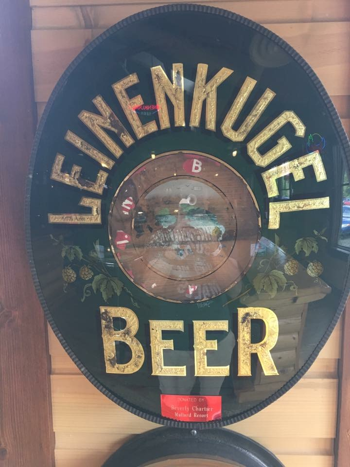leinenkugel beer waterfall glass sign dawes manufacturing company inc