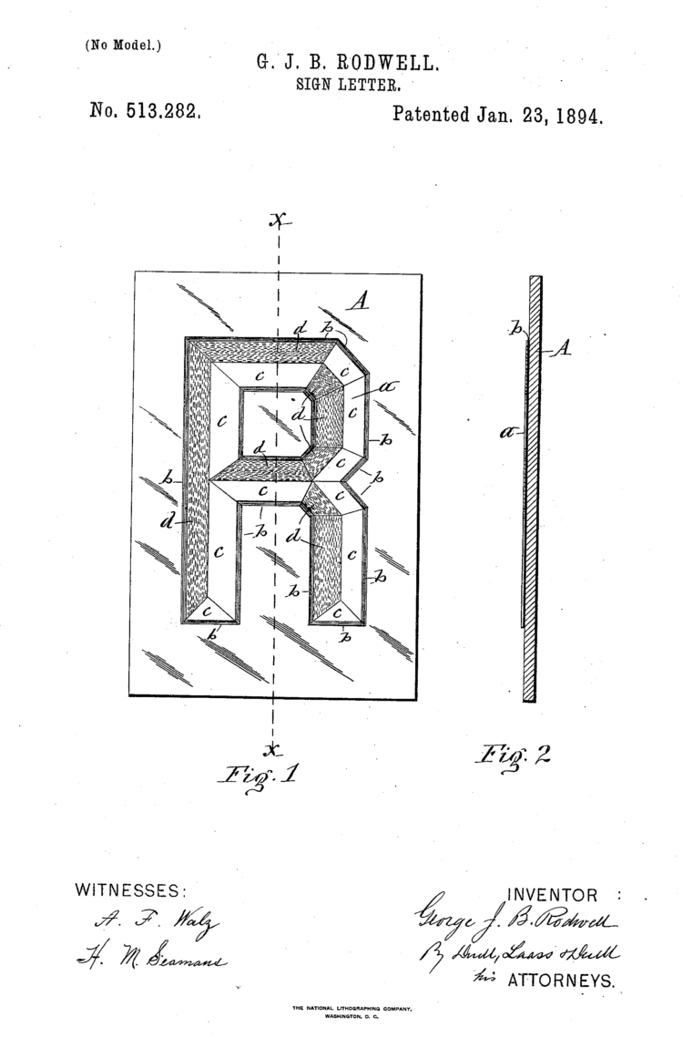 Rodwell Sign Company Sign Design Patent