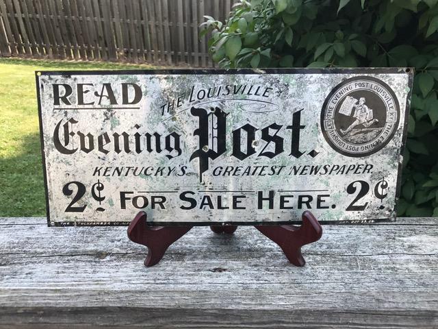 read louisville evening post metal sign tuchfarber company