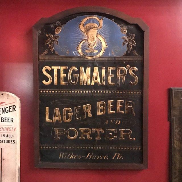 stegmaier lager beer porter wilkes-barre metal sign tuchfarber company