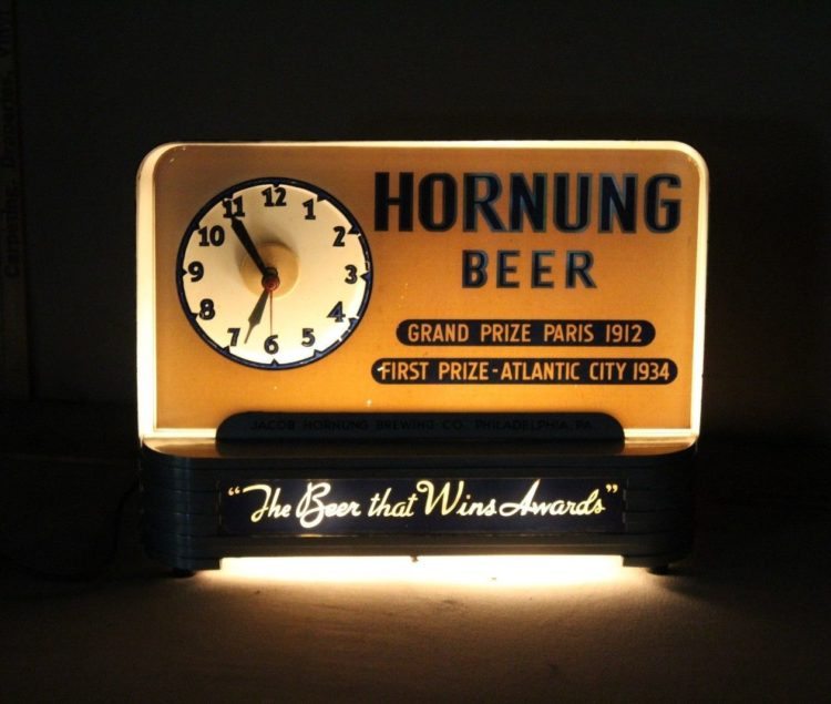 horning beer clock bar back sign price brothers inc