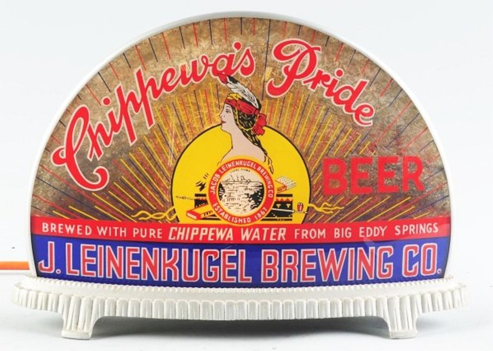 chippewas pride beer leinenkugel brewing company gillco glass lighted sign