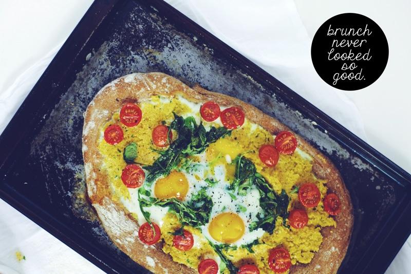 Polenta & Baked Egg Breakfast Pizza for Treasures & Travels