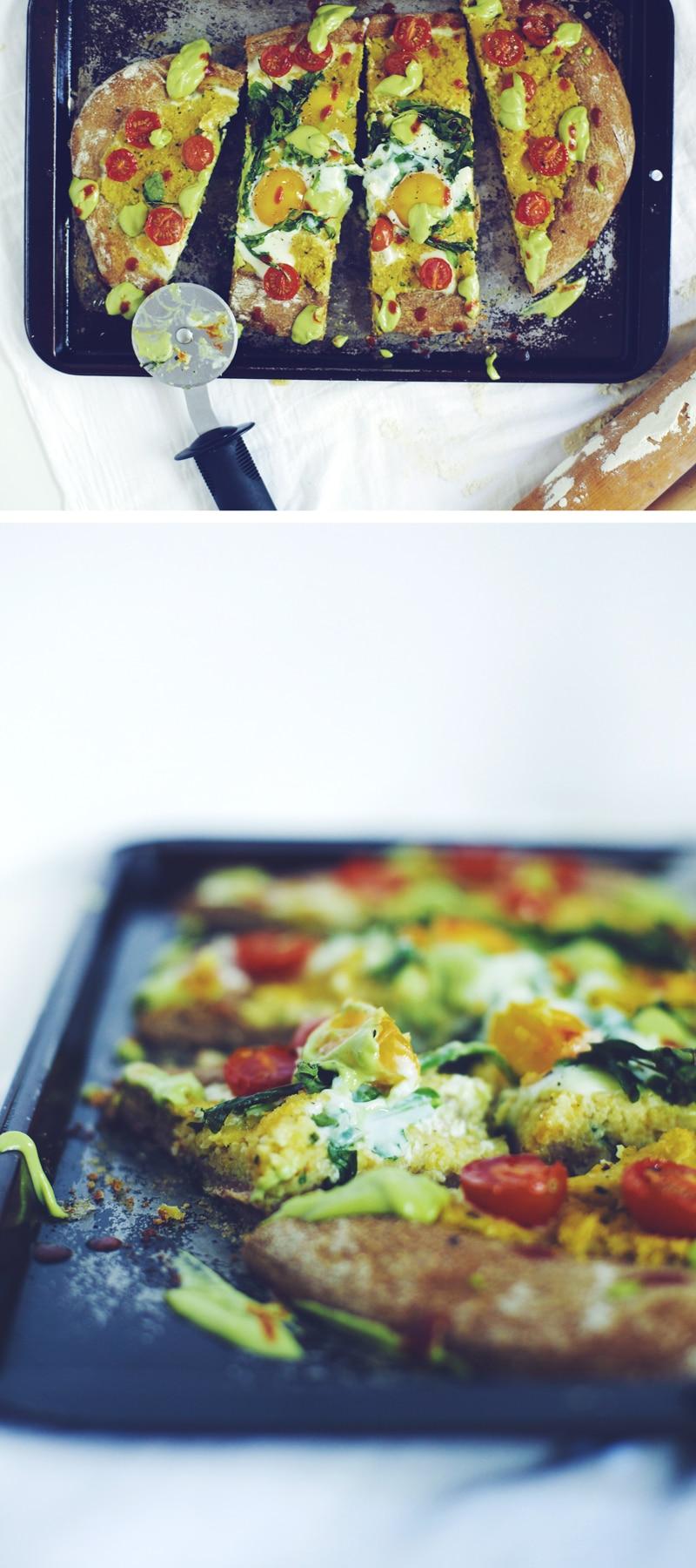 Polenta & Baked Egg B-fast Pizza