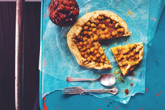 curry chickpea galette with tomato raisin chutney