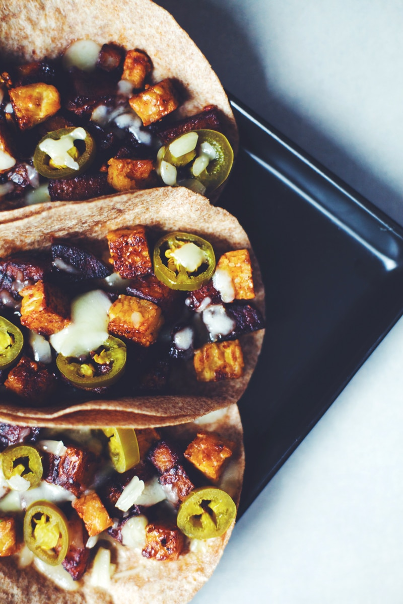 Texas BBQ Potato & Tempeh Tacos
