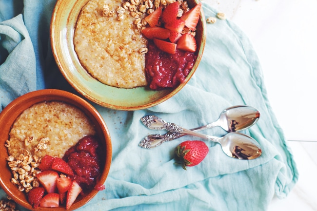 creamy sweet grits topped with strawberry jam