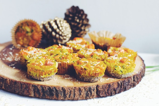 healthy mini quiche with butternut squash and a buckwheat crust