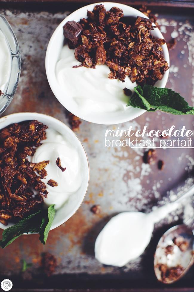 dark chocolate granola with honey-mint yogurt