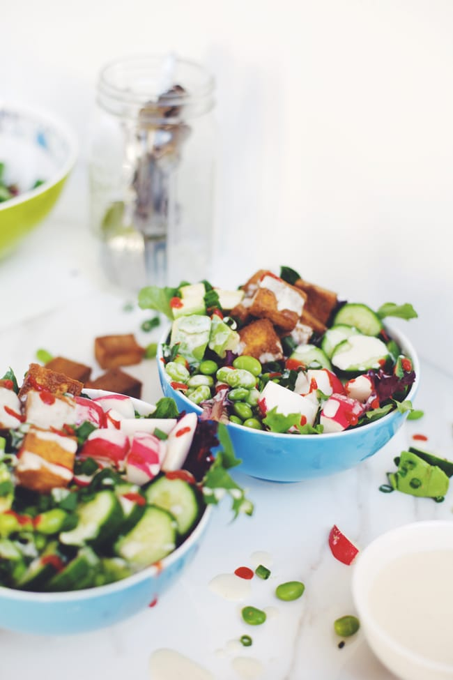 salad with crispy asian tofu and sweet miso dressing
