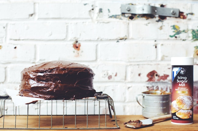 chocolate cake made with T-Sugars Icing Sugar Mill gourmet powdered sugar #bakethedifference