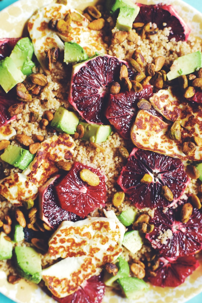winter salad with couscous, blood orange, avocado, and halloumi   @brewinghappiness