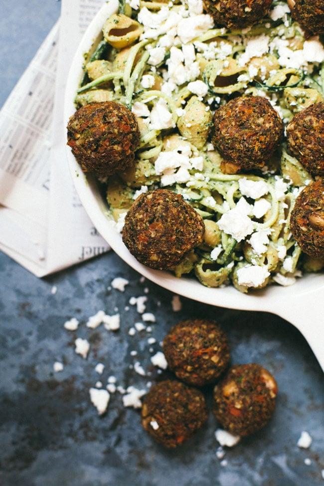 baked veggie meatballs with pesto pasta