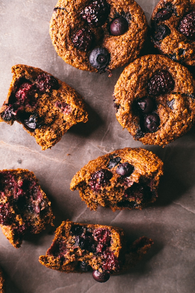 dairy free, egg free whole wheat muffins with blueberries and blackberries