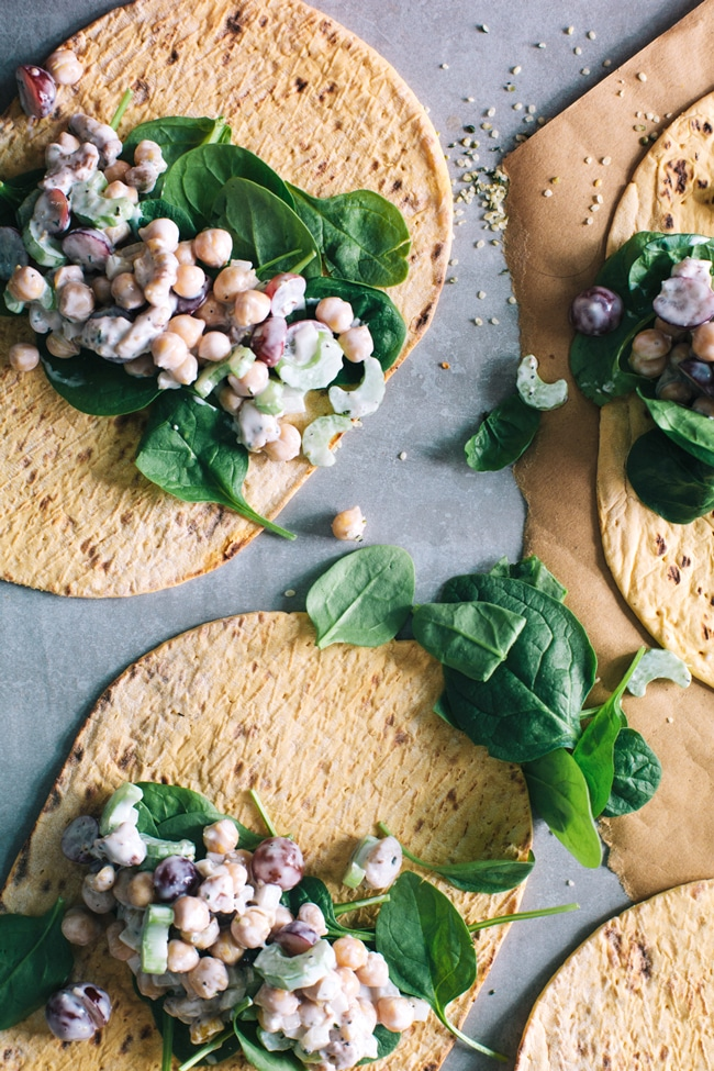 5 Minute Chickpea Salad Wraps