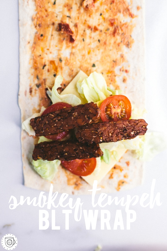 Vegetarian BLT lunch wrap