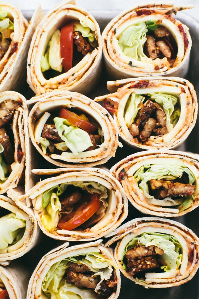 """Smokey Tempeh """"BLT"""" lunch wraps made with Flatout Bread!"""