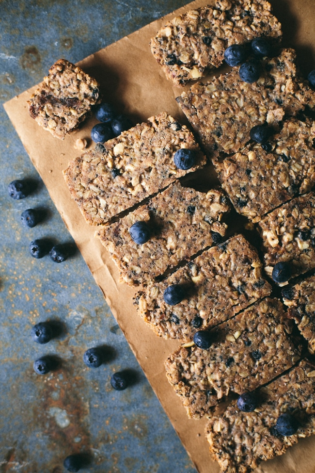 baked granola bars with blueberries