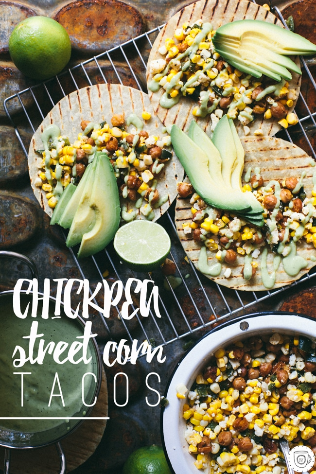 street corn tacos with crispy chickpeas and spicy avocado cream sauce