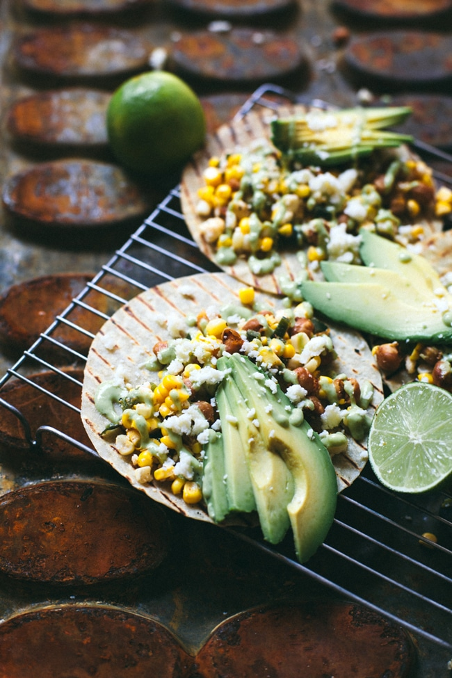 the best mexican street corn tacos with crispy chickpeas