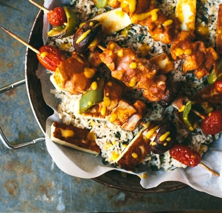 Oven Baked Masala Chicken Skewers #healthy #dinner   Brewing Happiness