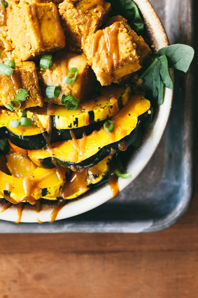 30-Minute Crispy Tofu & Squash Autumn Bowl | Brewing Happiness