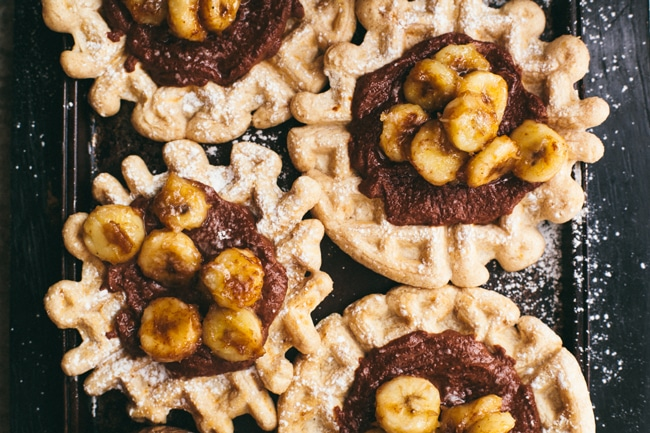 Healthy Waffles and Nutella with Caramelized Bananas   Brewing Happiness