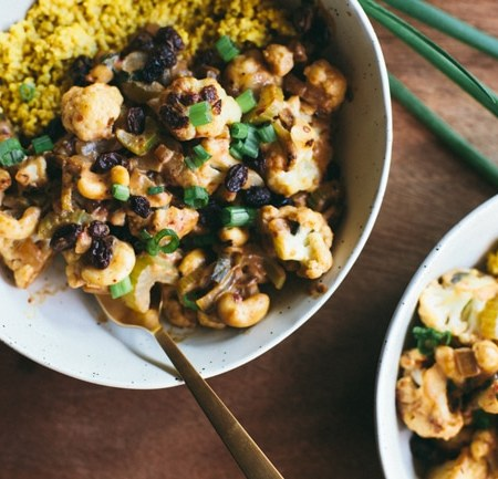 Spicy Curried Cauliflower and Millet Bowl | Brewing Happiness
