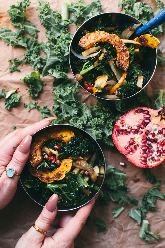 Warm Squash, Apple, Pear Kale Salad | Brewing Happiness