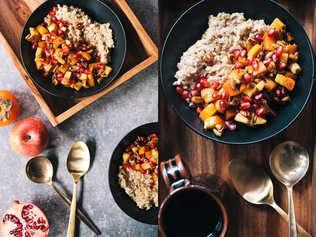 Winter Superfood Oats with apples, persimmons, and pomegranates | Brewing Happiness