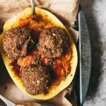 Mushroom Onion Thyme Veggie Meatballs with Spaghetti Squash Pasta | Brewing Happiness