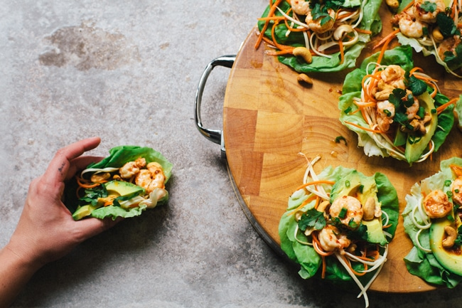 Sweet Thai Chili Shrimp Lettuce Wraps